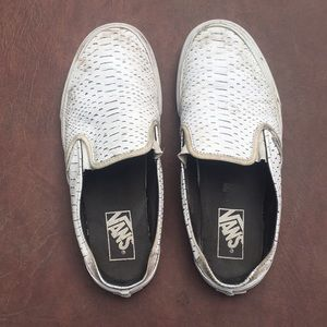 VANS Women's White Snakeskin Leather Slide-Ons
